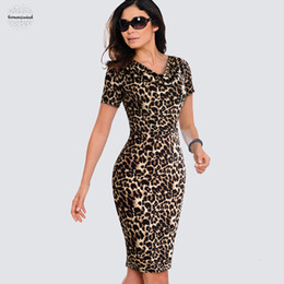leopard print goods Australia - Dress Business Good Women Casual Leopard Print Summer Office Quality Sheath Slim Summer Pencil Hb452 Woman Clothes