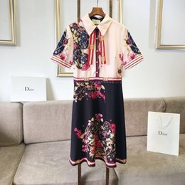 Polyester Cotton Fabric Dresses Australia - Women's short sleeve Lady dress Girl suit Summer clothing 2019 new products Pretty Comfortable High-grade silk polyester fabric redcm