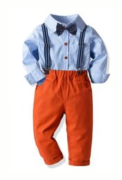 $enCountryForm.capitalKeyWord NZ - New Children's Baby Cotton Stripe Shirt Elastic Back Trousers Neck Suit Boy's Banquet Dresses Four Manufacturers Direct Selling