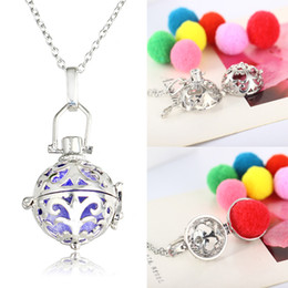 """$enCountryForm.capitalKeyWord Australia - Hollow Round Enamel Flower Pattern DIY Aroma Necklaces Essential Oil Diffuser Necklace With 19.69"""" Chain and 6pcs Color Refill Balls B441Q F"""