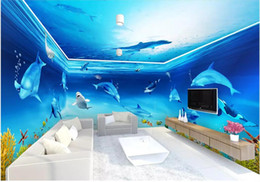 theme wallpaper NZ - 3d wallpaer custom mural photo Dream Underwater World Dolphin Theme Space living room home decor 3d wall murals wallpaper for walls 3 d