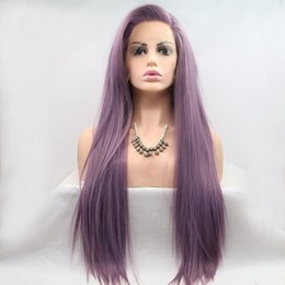Straight Synthetic Front Wigs Australia - Straight Purple Synthetic Lace Front Wig Lavender Heat Resistant Fiber Hair Wigs For Women