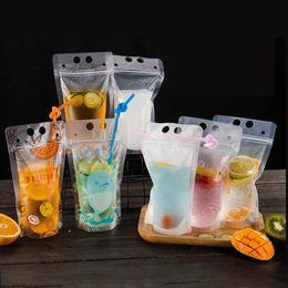 Toptan satış Çok Tarzı Içecek Çantası Süt Çay Soya Süt Suyu Paketleme Çantası Fermuar Buzlu Şeffaf Kalınlaşmak Taşınabilir İçecek Sızdırmazlık Plastik Torba BH1754