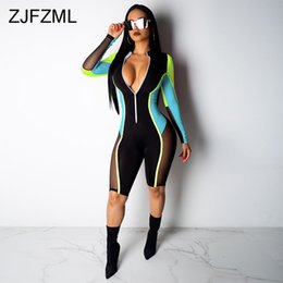 $enCountryForm.capitalKeyWord UK - Contrast Color Sexy Overalls For Women Mesh Patchwork Long Sleeve Club Party Playsuit Streetwear Front Zipper Bandage Jumpsuits Y190429