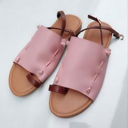 $enCountryForm.capitalKeyWord NZ - New thumb covering flat heel women designer sandals lady fashion casual beach shoes blue beige green pink color no1710