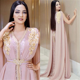 one sleeve kaftan dresses UK - 2020 Beaded Muslim Long Evening Prom Dresses Luxury Dubai Moroccan Kaftan Dress Chiffon V Neck Formal Gown Evening Party Dresses