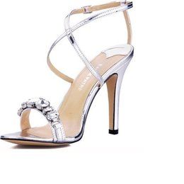 shining patent leather shoes Canada - Popular silver High heels sandals Shining diamond Cross thin belt Women's bride Wedding Shoes Evening sandals pumps