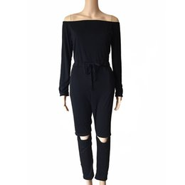 Chinese  Women Long Sleeve Off Shoulder Slash-Neck Jumpsuit Elegant Drawstring Waist Hole Pants Fit Romper manufacturers