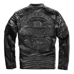 $enCountryForm.capitalKeyWord Australia - harley motorcycle rider jacket mens leather jacket man's genuine cowhide embroidery skull leather jacket slim 2019