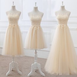 Dress marrieD short online shopping - Vestido De Noiva New Champagne Bridesmaid Dress Embriodery Transparent Lace The Married Banquet Elegant Long Party Prom