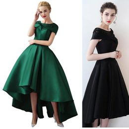 Low Back Black Cocktail Dress UK - Fashion High Low Black Cocktail Dresses 2019 Cheap Cap Sleeve Elegant Ball Gown Red Evening Gowns Jewel Neck Beaded Tea Length Prom Dress