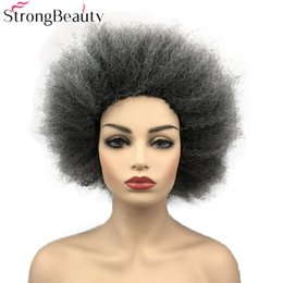 KinKy straight blonde online shopping - StrongBeauty Afro Short Wigs Kinky Straight Costume Halloween Dress Up Party Synthetic Hair Blue Pink Gold Light Blonde Gray