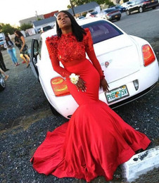 Silver Black Red Australia - HOt Sale Red Mermaid Prom Party Dresses With Lace Appliques Sweep Train Plus Size Vestidos De Novia Evening Gowns For Black Girl Cheap 2019