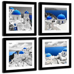 $enCountryForm.capitalKeyWord Australia - Canvas Prints Wall Art Blue Aegean Sea Painting Landscape Picture Stretched Black Framed Artwork 4 Pieces for Living Room Bedroom Decor