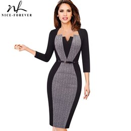 Wholesale women s optical illusion dress resale online – Nice forever Women Elegant Optical Illusion Patchwork Contrast Belted Vintage Thin Work Bodycon Dress Y19071001