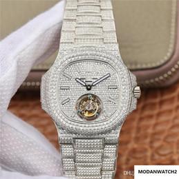 Venta al por mayor de Nueva marca de lujo de 18 quilates de diamantes de platino sholova relojes con los relojes de movimiento tourbillon de lujo de la cadena manual del reloj de los hombres, todas las estrellas