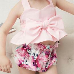 $enCountryForm.capitalKeyWord Australia - 2019 Summer Infant Baby Girls Set Kids Bowknot Halter Vest Tops + Flower Shorts Girl 2pcs Outfits Children Set 5029