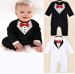 Gentleman Romper Jumpsuit Australia - PrettyBaby Infant Boy Rompers with Bow-tie Kids Climb Jumpsuit and Rompers Baby Wear Gentleman Romper E95687