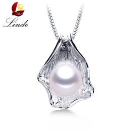 $enCountryForm.capitalKeyWord UK - Big 10-11mm White Natural Freshwater Pearl Pendant Necklace Women Fashion 925 Sterling Silver Jewelry High Quality Shell Pendant J190613