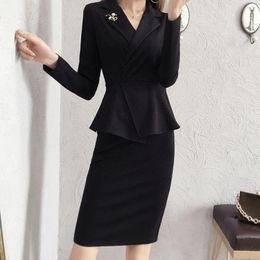 dress styles for working women 2019 - Elegant Dress Suits Women Vintage England Style Business Wear Work Set For Office Lady Formal Sexy V Neck Jacket Blazer
