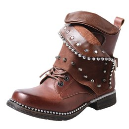 Low Cowboy Boots Australia - rivets stud genuine leather winter short boots for women metal beading low heel motorcycle boots turn over do old ankle boots females
