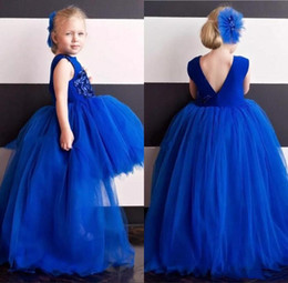 high low tutus NZ - High Low Royal Blue Girl Pageant Dress 2020 Little Miss Ball Gown Tutu Short Front Long Back Kids Birthday Wedding Party Gowns