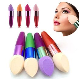 makeup blender blending foundation sponge NZ - New 1pcs Egg Makeup Sponge Blender Blending Foundation Puff Powder Smooth bevel-shaped bullet handle puff Beauty Cosmetic tool