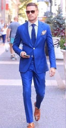 Images Classic Suit Design Australia - New Classic Design Two Buttons Blue Groom Tuxedos Groomsmen Notch Lapel Best Man Suit Wedding Men's Blazer Suits (Jacket+Pants+Tie) 1024