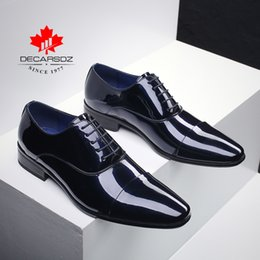 spring office fashion NZ - Men Formal Shoes 2020 Fashion Patent Leather Dress Shoes Men Spring & Autumn Brand Business Office Wedding Footwear Men Shoes