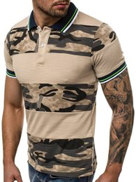 Wholesale camouflage polo shirts men resale online – men s POLO shirt Men s stitching T shirt D digital printing camouflage fashion causal short sleeved tee for sale