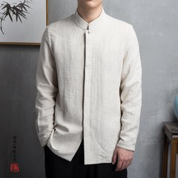 chinese casual clothes Australia - 2019 NEW Chinese Style Kimono Men Shirt Long Sleeve Casual Streetwear Men Shirt Man Linen Kimono Shirt Men Clothes T190829