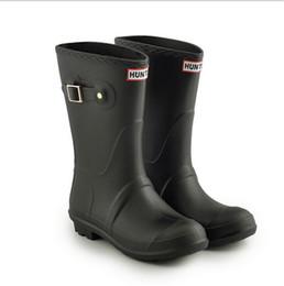 Flat heel rain boots online shopping - 2019 Women Waterproof Rain Boots Brand Mid calf Rainshoes Wellies Girls Ladies Fashion Candy Color Rubber Low Heel Rainboots Hot Sale