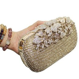 Bridal european handBags online shopping - Designer Crystal Lyne Leaf Clasp Net Diamond Evening Bag Encrusted Drilling Clutch Handbag Wedding Purse Bridal Messenger Bags R3326