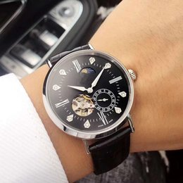 Luxury Brown Leather Watch Australia - 2019 New Fashion Luxury Mens Brown Black Leather Strap Watches Automatic Mechanical Movement Watch Men's Diamond Wristwatche