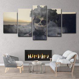 $enCountryForm.capitalKeyWord Australia - 5 Pieces HD Printed Day of The Dead Face Group Painting Canvas Print Room Decor Print Poster Picture Canvas Free Shipping