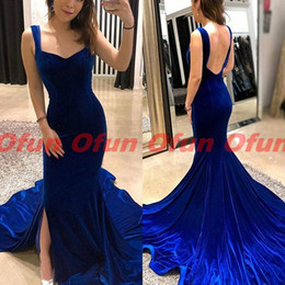 $enCountryForm.capitalKeyWord NZ - Elegant Navy Blue Mermaid Evening Dress Spaghetti Strap Simple Sweetheart Backless Sleeveless Velvet Sweep Train Formal Prom Gown