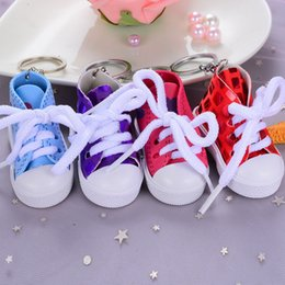 Key Ring Canvas NZ - Mini I Love You Canvas Shoes Keychain Sequins Sports Shoe Key Chain Holder Cell Phone Charms Novelty Tennis Shoes Key Ring Handbag Pendant