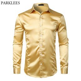 white rayon prom dress UK - Gold Smooth Silk Satin Dress Shirt Men Slim Fit Long Sleeve Chemise Homme Casual Wedding Club Party Prom Tuxedo Shirt Male