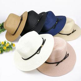 Foldable Flats Wholesale Australia - Sun Hats For Women Panama Straw Hat Summer Casual Flat Brim Beach Hat 2019 Adjustable Foldable Ladies Sombrero