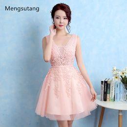$enCountryForm.capitalKeyWord Australia - Robe De Soiree 2019 New short lace sleeveless V-Neck pink Bridesmaid Dress ever pretty Plus Size ombre dress Party Prom