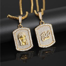 Pharaoh Pendants online shopping - Europe and the United States hot hip hop rhinestone glitter points military dog tag pendant Hip hop pharaoh necklace