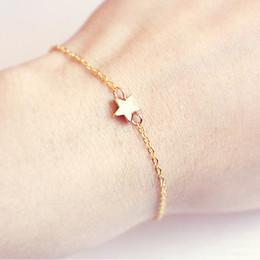 $enCountryForm.capitalKeyWord Australia - Lucky Silver Golden Star Link-chain Bracelet for Women Men Kids Adjustable Rope Braided Bracelet Mom Daughter Couple Gift