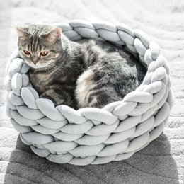 Knitted Pet Bed Dog Cat Bed Puppy Pillow House Soft Warm Dog House Mat Mini Puppy Beds Comfortable Nest Kennel Pet Supplies on Sale