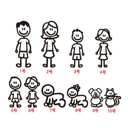 $enCountryForm.capitalKeyWord Australia - Family Car Sticker Father Mother Sons Daugther Dog Cat Car Rear Window Sticker DIY Figure Decal PET Waterproof Accessories
