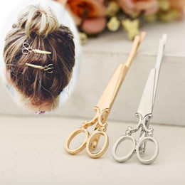 wedding scissors Canada - New personality creative cute super cute small comb small scissors hair clip side clip word clip hair accessories 2020