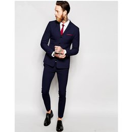 Bussiness Suits Australia - Bussiness Blue Autumn Gentlemen Handmade Plus Size Costume Homme Blazer Tuxedo Wedding Suits For Men Custom Made Men Suits