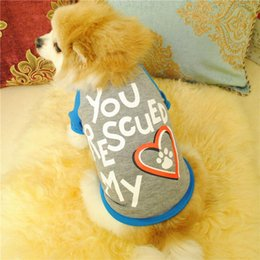 clothes ornaments Australia - Letter You Rescued My Heart Pet Kitty Dog T Shirt Vest Summer Cute Small Puppy Clothing Dress Up Doggy Footprints Clothes sale