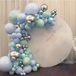 party decoration kits NZ - DIY Decoration Balloons Garland Kit Balloon Arch Macaron Blue Sliver Chrome Wedding Bridal Shower Birthday Party Kid Baby Shower T200624