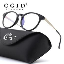 $enCountryForm.capitalKeyWord Australia - CGID TR90 Computer Glasses Anti Blue Light Radiation Optical Print Glasses Round Black Eyewear Frame PC Glass Men & Women CT28