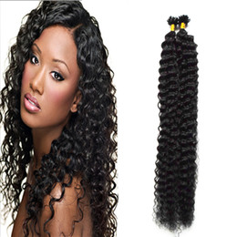 $enCountryForm.capitalKeyWord UK - Italian keratin Nails U TIP Hair Extensions 100s Virgin Brazilian Kinky Curly Remy Hair Pre Bonded Curly Hair Extensions 1g s Natural Black